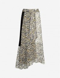 ME AND EM Abstract animal-print crepe skirt in cream/khaki/black mix