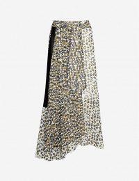 ME AND EM Abstract animal-print crepe skirt in cream/khaki/black mix