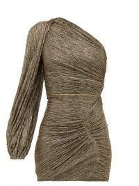 PETER PILOTTO Metallic one-sleeve ruched-plissé mini dress in dark-gold