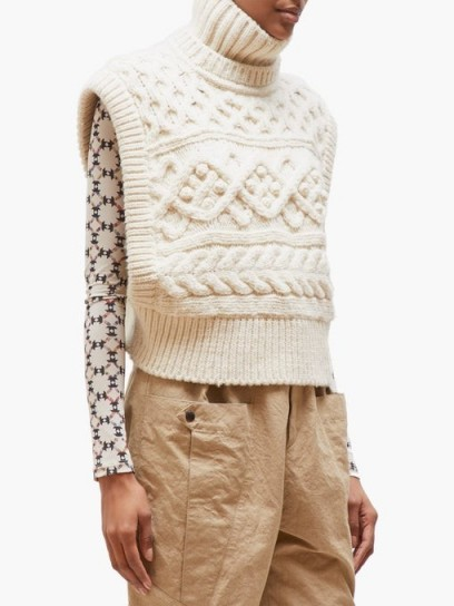 ISABEL MARANT Milane sleeveless cable-knit sweater in ivory | chunky knitted tank