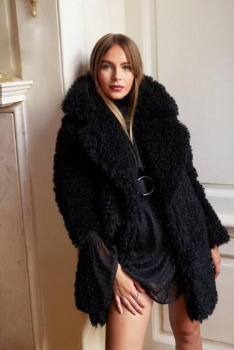 NASTY GAL Miles Fur Hour Faux Fur Teddy Coat in Black – glam winter coats - flipped