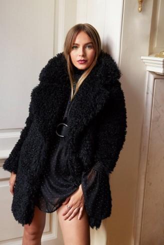 NASTY GAL Miles Fur Hour Faux Fur Teddy Coat in Black – glam winter coats