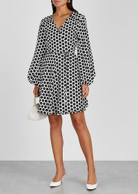 MILLY Siena polka-dot satin wrap dress ~ chic spot print dresses