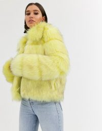 Missguided crop faux fur jacket in yellow / fluffy paneled jackets / winter outerwear