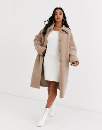 Missguided Petite funnel neck borg coat in beige / luxe style winter coats