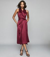 REISS MOA SILK BLEND WRAP EFFECT MAXI DRESS BURGUNDY ~ dark-red event dresses