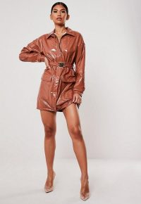 MISSGUIDED mocha vinyl belted utility dress ~ high shine dresses