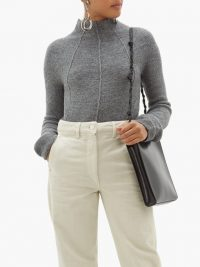 JIL SANDER Mock-neck cashmere-blend sweater in grey | luxe knitwear