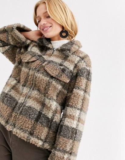 Monki check zip borg jacket with oversized pockets in beige / lumberjack style jackets
