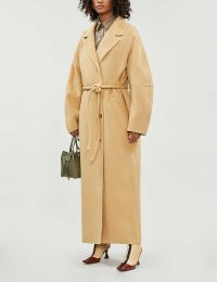 NANUSHKA Loane belted single-breasted wool-blend coat in cashew ~ belted longline winter coats