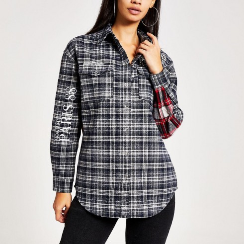 RIVER ISLAND Navy check embellished boyfriend overshirt