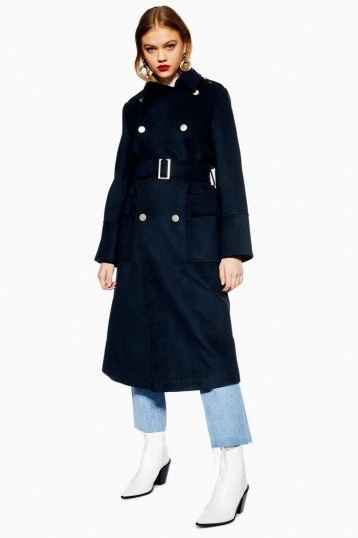 TOPSHOP Navy Military Coat – blue belted coats - flipped