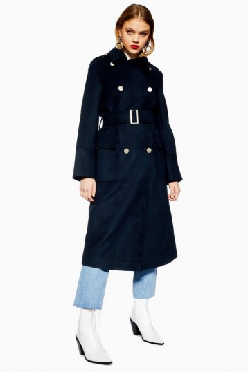 TOPSHOP Navy Military Coat – blue belted coats