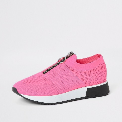 River Island Neon pink zip front knitted runner trainers | girly sneaker