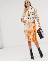Neon Rose high neck midi dress in dark tie dye