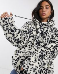 New Girl Order oversized hoodie in dalmation fleece with toggle tie | snugly monochrome hoodies