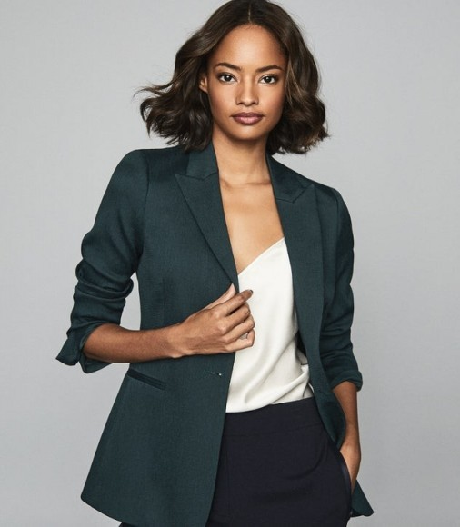 REISS NEYA TEXTURED TAILORED BLAZER PETROL BLUE ~ effortless style jacket