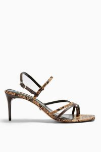 TOPSHOP NICOLE Snake Strappy Sandals / reptile printed heels