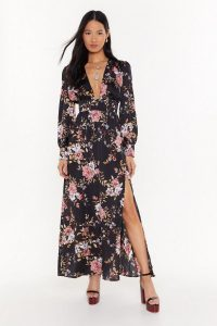 NASTY GAL No If's or Buds V-Neck Floral Maxi Dress / deep plunge front dresses
