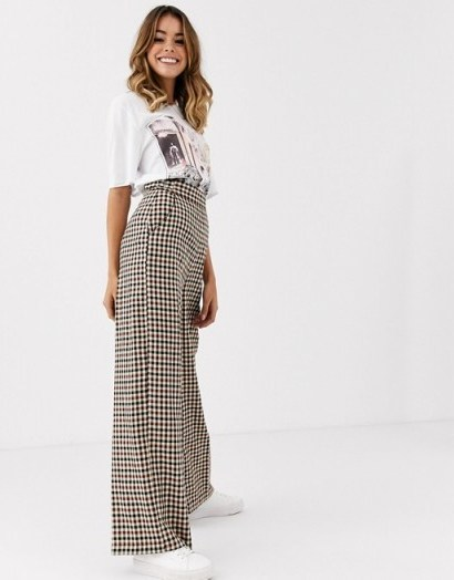 Nobody's Child tailored trouser in check / high rise wide leg pants - flipped