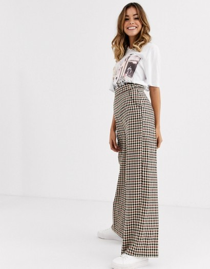Nobody's Child tailored trouser in check / high rise wide leg pants