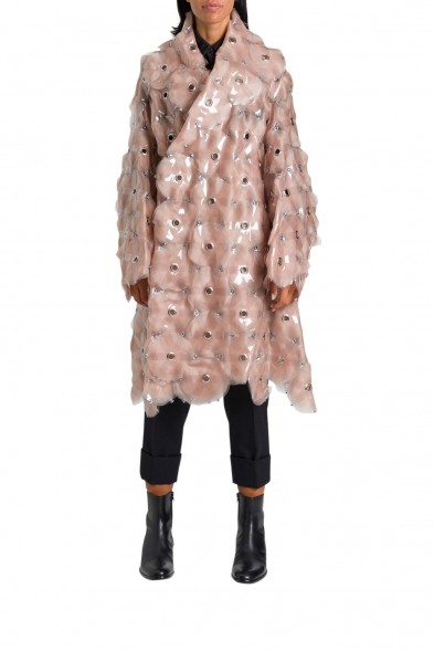 NOIR KEI NINOMIYA ORGANDIE TULLE WITH PLASTIC APPLICATION AND STUDS ~ powder-pink style statement coats