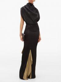 ROLAND MOURET Nola draped-bodice open-back plissé-Lurex gown in black ~ gold insert gowns