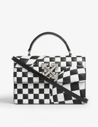 OFF-WHITE C/O VIRGIL ABLOH Jitney black and white 1.4 check leather crossbody bag
