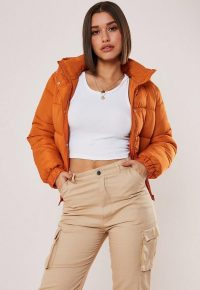 MISSGUIDED orange hooded puffer jacket ~ autumn colours