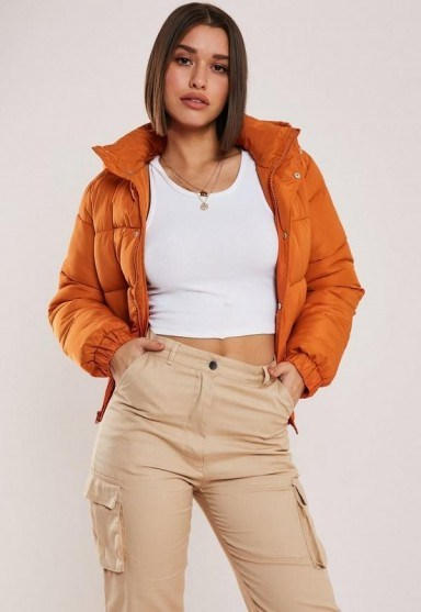 MISSGUIDED orange hooded puffer jacket ~ autumn colours - flipped