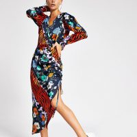 RIVER ISLAND printed wrap midi dress / side drawstring dresses