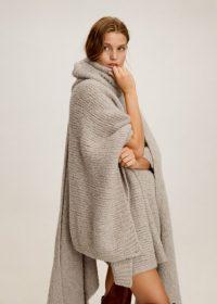 MANGO Organic wool-blend cape in Beige REF. 53095780-CAPADOCI-LM   chunky asymmetric poncho