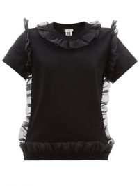 NOIR KEI NINOMIYA Organza ruffle-trim cotton T-shirt in black | feminine ruffled tee