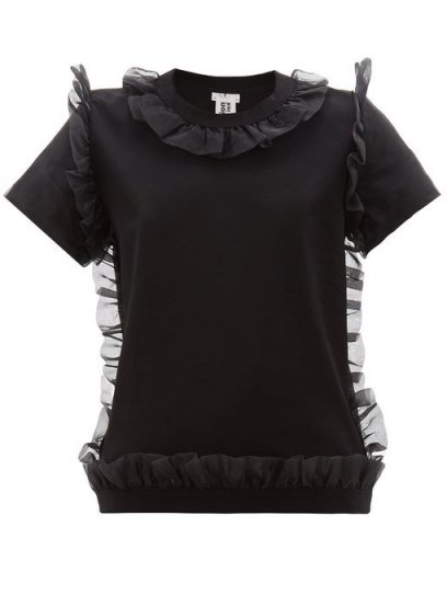 NOIR KEI NINOMIYA Organza ruffle-trim cotton T-shirt in black | feminine ruffled tee - flipped