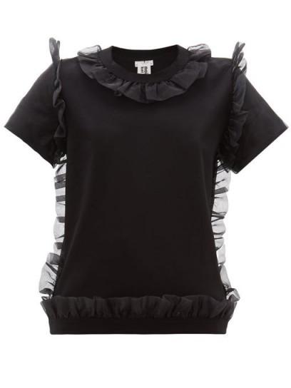 NOIR KEI NINOMIYA Organza ruffle-trim cotton T-shirt in black | feminine ruffled tee