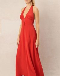 heidi klein Pampelonne Halterneck Maxi Dress – red poolside dresses