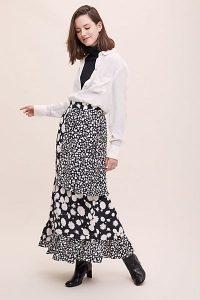 Paper London Bessie Mixed-Print Skirt Black Motif / floral maxi skirts
