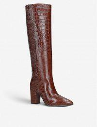 PARIS TEXAS Block-heel croc-embossed leather heeled knee-high ankle boots in brown