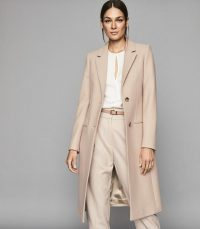REISS PEMBURY WOOL BLEND OVERCOAT PALE PINK