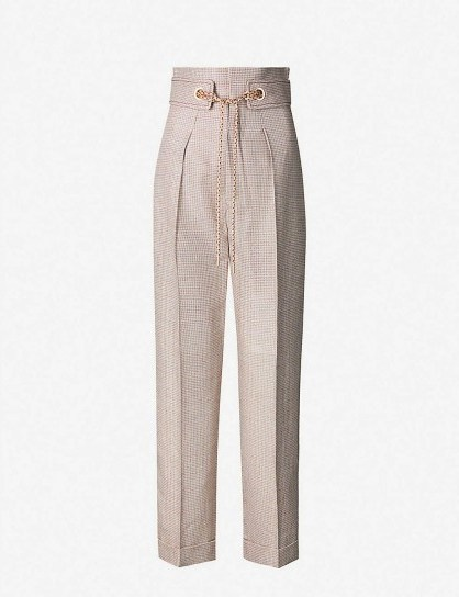 PETER PILOTTO Checked tapered metallic-woven trousers in silver / tailored pants - flipped