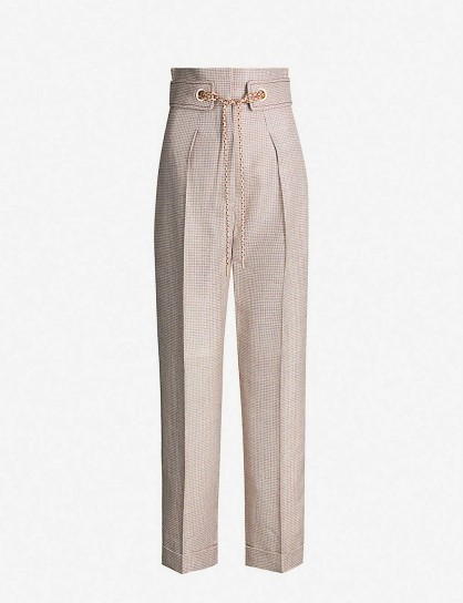 PETER PILOTTO Checked tapered metallic-woven trousers in silver / tailored pants