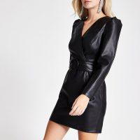 RIVER ISLAND Petite faux leather wrap front mini dress ~ puffed sleeve lbd