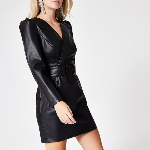 RIVER ISLAND Petite faux leather wrap front mini dress ~ puffed sleeve lbd - flipped