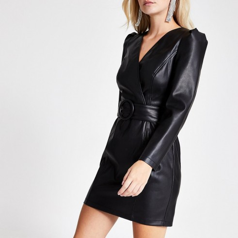 RIVER ISLAND Petite faux leather wrap front mini dress ~ puffed sleeve lbd