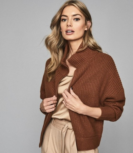 REISS PEYTON CHUNKY ZIP THROUGH CARDIGAN BROWN ~ ribbed cardigans