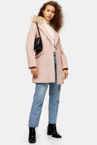 TOPSHOP Pink Herringbone Coat – faux fur collar coats