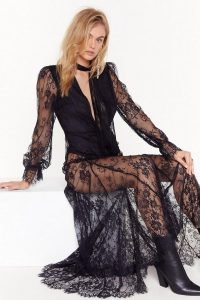 NASTY GAL Pink Silk and Coffee Lace Maxi Dress in Black