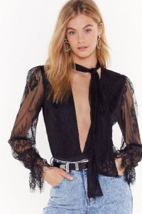 NASTY GAL Pink Silk and Coffee Lace Plunging V-Neck Bodysuit in Black