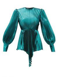 GUCCI Plissé metallic silk-blend blouse in turquoise