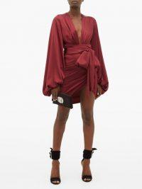 ALEXANDRE VAUTHIER Plunge-neck ruched silk-blend satin dress in burgundy